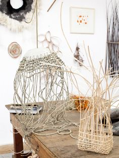 Ozzie Wright, Mylee Grace Fitzgerald and Family - The Design Files Rattan Lampe, Contemporary Baskets, Creative Textiles, Arts And Crafts, Diy Crafts, Plant Design, Design Art, Weaving Projects, The Design Files