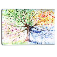 Four Seasons Tree Floral Painting Print on Wrapped Canvas