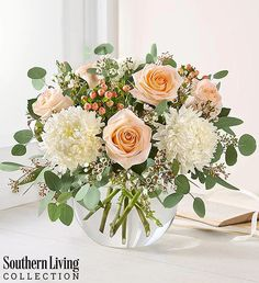 Created in partnership with Southern Living, it brings together bunches of blooms in shades of peach and white. Summer Flower Arrangements, Beautiful Flower Arrangements, Summer Flowers, Fresh Flowers, White Flowers, Fresh Flower Arrangement, Funeral Flower Arrangements, Peach Flowers, Birthday Flower Arrangements