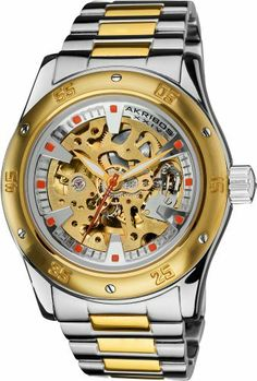 Akribos XXIV Men's AK477TTG Skeleton Automatic Bracelet Watch Akribos XXIV. $138.00. Gold-tone skeleton dial with orange hour markers, and a silver-tone outer layer car rim design. Water-resistant to 30 M (99 feet). Gold-tone stainless steel bezel with six decorative screws, and a minute track. Gold-tone luminescent hour, and minute hands with an orange second hand. Two-tone gold and silver stainless steel bracelet