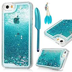 iPhone SE Case,iPhone 5 5S Case - MOLLYCOOCLE Transparent Clear PC Hard Plastic Shell 3D Bling Sparkle Glitter Quicksand and Cute Star Flowing Liquid Cover for iPhone SE/5/5S - Blue