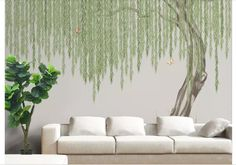 One Large Weeping Willow Tree Wallpaper Wall Mural, Hanging Green Willow Leaves Wall Mural, Green Willow Tree Wall Nursery Mural Wall Decor Decor, Tree Wall Murals, Mural, Tree Wallpaper For Walls, Wall Decor, Willow Tree, Wall Wallpaper, Mural Wallpaper, Removable Wallpaper