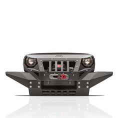 Front Bumper w//Winch Plate /& 4X 18W LED Spotlights For Jeep Wrangler JK JL 07-19