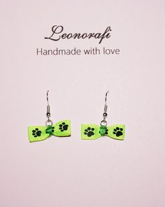 Neon green paw print bow dangle earrings, great gift, Mother's Day Gift