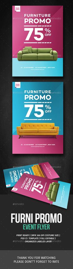 Buy Home Furniture Promo Flyer by tokosatsu on GraphicRiver. Furniture Promo Flyer Hello This PSD file set on 210 mm x 297 mm + bleed ready to print. Patio Furniture Redo, Furniture Logo, Design Furniture, Furniture Layout, Furniture Arrangement, Plywood Furniture, Home Decor Furniture, Furniture Makeover, Classic Furniture
