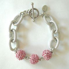 For Breast Cancer Research - Pave & Silver Link Bracelet