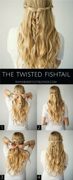The Twisted Fishtail Hair Tutorial - Barefoot Blonde Waves in 15 minutes! Section hair into big sections then braid each in a loose braid. Run a flatiron over each braid, let them cool down, spra (Minutes Hairstyles Easy Hair) Pretty Hairstyles, Wedding Hairstyles, Amazing Hairstyles, Twisted Hairstyles, Easy Diy Hairstyles, Braid Hairstyles, Summer Hairstyles, Elegant Hairstyles, Hairstyles Haircuts