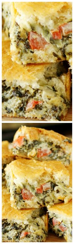 The deliciousness of everybody's favorite dip is baked between flaky layers of crescent rolls to create easy to serve, easy to eat Spinach Dip Crescent Bites. Bread Appetizers, Yummy Appetizers, Appetizers For Party, Appetizer Recipes, Crescent Roll Recipes, Crescent Rolls, Lunch Recipes, Cooking Recipes, Dinner Entrees