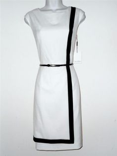 Calvin Klein CK Dress Size Sz 10 Stretch Sheath Ivory Black Stripe Belt NWT
