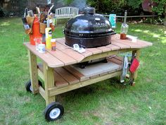 Primo Xl Grill Table Plans Inspirational Grilling Bbq and Smoking Homemade Grill, Diy Grill, Bbq Diy, Grill Cart, Grill Table, Bbq Stand, Big Green Egg Table, Ceramic Cooker, Diy Smoker