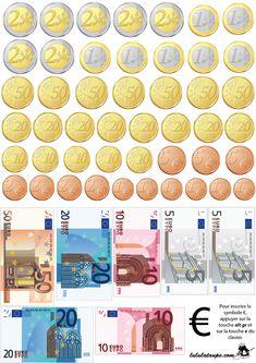 Billets et pièces en euros à imprimer et à découper