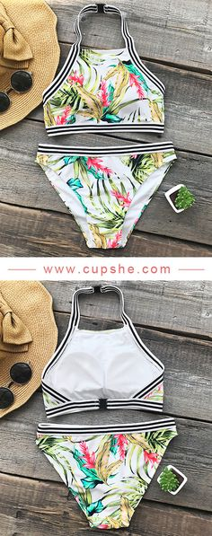 New swimwear new beach style. Suit yourself in this trending pretty bikini set, enjoy a wonderful seaside party. Super chic tank style & floral print, make you so stunning! Shop now~