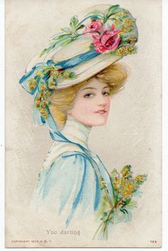 VINTAGE ARTIST DRAWN/PAINTED:GLAMOUR, FASHION HAT, STYLE:  YOU DARLING