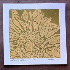 Golden+Sunflower+Linocut+Prints+by+LaCasaDeAzul+on+Etsy