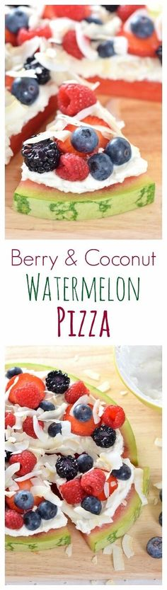 Really easy coconut watermelon fruit pizza recipe - a gorgeous healthy dessert recipe for summer parties and barbecues from Eats Amazing UK