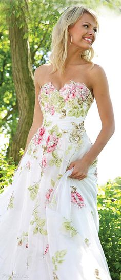 Jovani 92630 Strapless 2015 Lovely Floral Gown