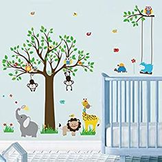 Perfect for your Baby and Nursery decalmile Jungle Animal Tree Wall Decals Owl Monkey Elephant Wall Stickers Baby Nursery Kids Bedroom Playroom Wall Decor (H: 31 Inches),decalmile Jungle Animal Tree Wall Decals Owl Monkey Elephant Wall Stickers Baby Nursery Kids Bedroom Playroom Wall Decor (H: 31 Inches), It can be stuck onto any clean, dry, non-textured smooth surfaces: walls, windows, tiles,...