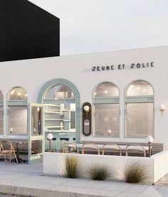 Jeune et Jolie, Carlsbad, CA. Cafe Shop Design, Cafe Interior Design, Commercial Interior Design, Interior Exterior, Commercial Interiors, Store Design, Exterior Design, Interior Modern, Interior Paint