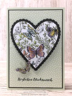 A hearty greeting card tinker with the products of Stampin 'Up! The f … - Modernes Butterfly Cards, Flower Cards, Handmade Birthday Cards, Greeting Cards Handmade, Card Making Inspiration, Making Ideas, Card Making Templates, Stampin Up, Stamping Up Cards
