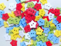 20 Candy Color Plastic Star Buttons by NanasButtonStash on Etsy