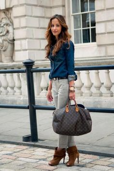 Louis Vuitton bag fun style with an ultra expensive bag and jeans... love the contrast.