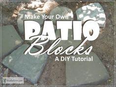 Patio Blocks - make your own soil cement diy pavers Concrete Leaves, Concrete Planters, Concrete Blocks, Patio Blocks, Garden Blocks, Dry Creek Bed, Diy Garden Projects, Garden Ideas, Unique Gardens
