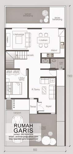 Simple as it can be, narrow lot house plans are design for compact layout and not luxury. Modern House Floor Plans, Narrow Lot House Plans, Garage House Plans, House Plans One Story, Beautiful Small Homes, Small Modern Home, 2 Storey House, Foyer, Architecture Design