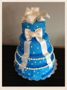 Blue and White Wedding Cake with large bow