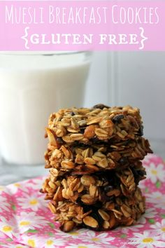 With these healthy, Gluten-Free Muesli Breakfast Cookies on hand, mornings should go pretty smoothly. Plus, they'll be delicious! Gluten Free Cookies, Gluten Free Baking, Gluten Free Desserts, Gluten Free Recipes, Healthy Cookies, Breakfast Cookies, Breakfast Recipes, Breakfast Healthy, Gluten Free Muesli