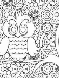 Funny Owl on the Birthday Card coloring page for kids ...