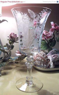 Tiffin water goblets ~ Fuchsia pattern