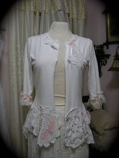 White Doily Sweater, shabby n chic cottage refashioned tattered romantic victorian MEDIUM on Etsy, $145.00