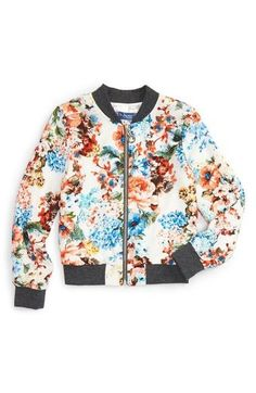 Floral Print Bomber Jacket (Toddler Girls, Little Girls & Big Girls)