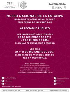 Amigos del MUNAE, les compartimos los horarios especiales del MUNAE en estas fechas decembrinas 2013.