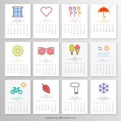 2016 calendário mensal com ícones Vetor grátis                                                                                                                                                      Mais