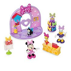 Minnie Mouse Bowtique Playset | Disney Store The heart-shaped swing doors of Minnie's Bowtique open into a colorful world of fashion essentials. Minnie and Daisy are on hand to serve customers from their spinning bow display in this playset that includes lots of fun accessories.