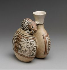 Bottle with Mouse    Date:      4th–7th century  Geography:      Peru  Culture:      Recuay  Medium:      Ceramic  Dimensions:      H. 6 in. (15.24 cm)  Classification:      Ceramics-Containers