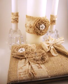 Rustic Wedding Set Burlap Shabby Chic Muslin and Pearl Guest Book and Pen Set with Wedding Unity Candle Wraps. $84.50, via Etsy.