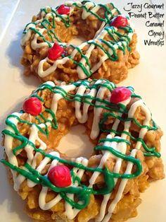Recipe For Peanut Butter Caramel Christmas Cornflake Wreath Cookies