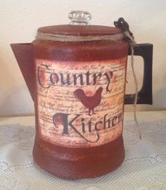 Rooster UpCycled Vintage Coffee Pot.. Prim Rusty by CraftsByJoyice