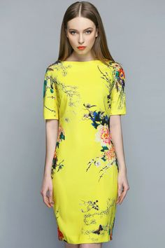 New Women Elegant Floral Printed Boat Neck Pullover Dress - Lalalilo.com Shopping - The Best Deals on Women's Dresses