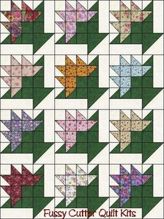 flower basket quilt block | Flower Basket Easy Pre-Cut Quilt Blocks Top Kit Grab Bag of Floral ...