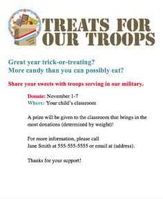 Get our free Treats for Our Troops flyer to promote this event at your school. (Great lesson for kids!)
