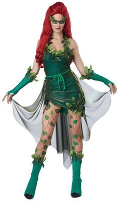 #01289 Poison Ivy is an enemy to Batman and has used her poisons on him. This Lethal Beauty Costume includes the adjustable dress, mask, glovelettes, boot covers, printed leggings and the detachable t