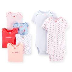 Baby Girl 7-Pack Short-Sleeve Bodysuits | Carters.com