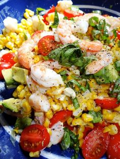 Summer salad: Roasted Corn, Shrimp and Avocado Salad