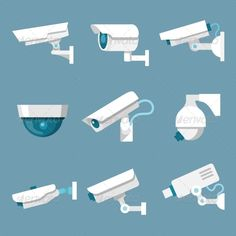 Security Cameras Icons Set | Buy and Download: http://graphicriver.net/item/security-cameras-icons-set/7332264?WT.ac=category_thumb&WT.z_author=macrovector&ref=ksioks