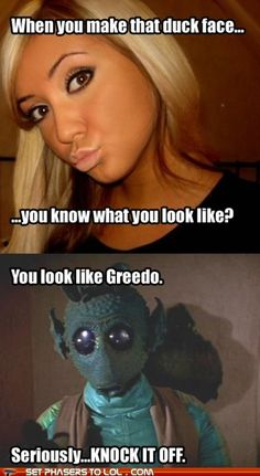 Funny pictures about When you make the duck face. Oh, and cool pics about When you make the duck face. Also, When you make the duck face. Fantasy Star, Pow, Duck Face, The Force Is Strong, Star Wars Humor, Long Time Ago, I Laughed, Laughter, Funny Pictures