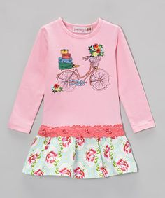 Take a look at this Pink Rose Bike Drop-Waist Dress - Toddler & Girls by Heather Hill on #zulily today!