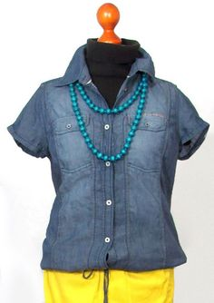s.OLIVER BLUSE NEUw Gr S 36 Blau Jeans Damen Used-Style Oberteil uni f25a23a927